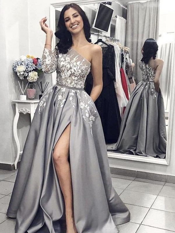 A-Line/Princess Satin One-Shoulder Applique Sleeveless Sweep/Brush Train Dresses