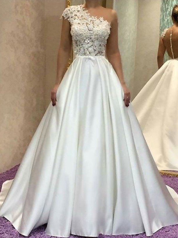 A-Line/Princess Satin One-Shoulder Lace Sleeveless Sweep/Brush Train Wedding Dresses