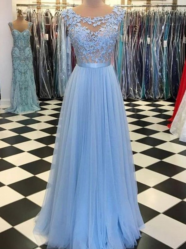 A-Line/Princess Tulle Scoop Applique Sleeveless Floor-Length Dresses