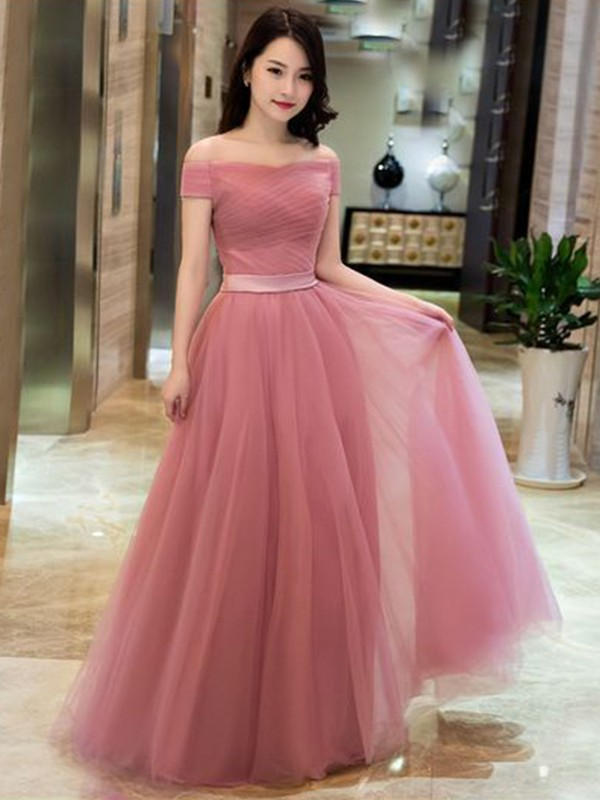 A-Line/Princess Tulle Off-the-Shoulder Ruffles Sleeveless Floor-Length Dresses