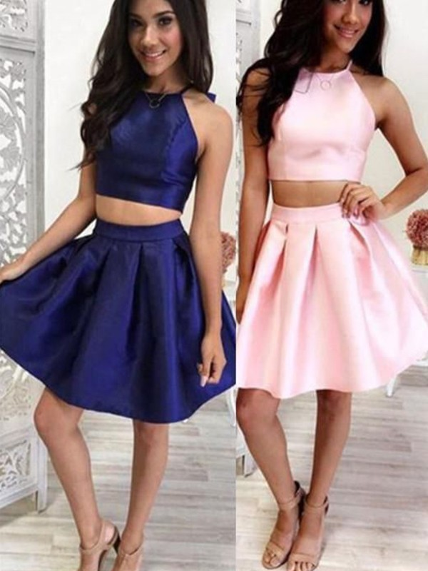 A-Line/Princess Short/Mini Halter Sleeveless Satin Ruffles Dresses