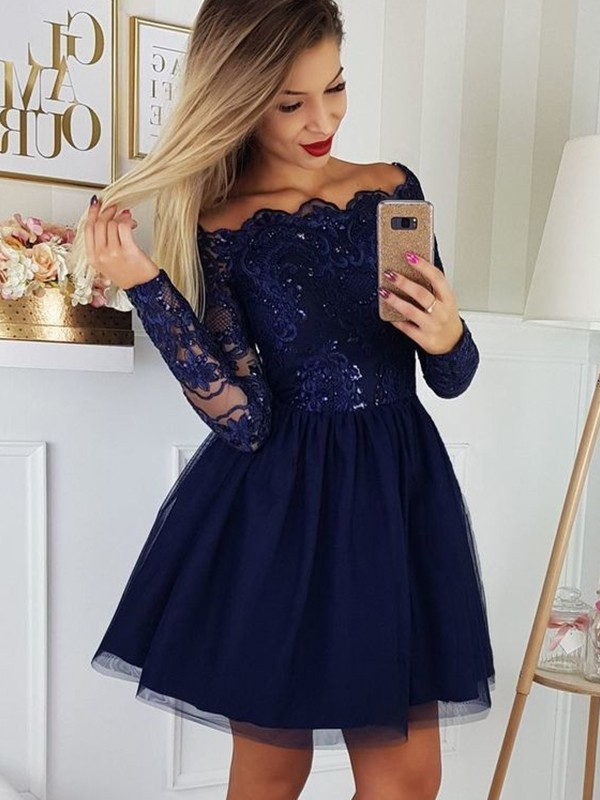 A-Line/Princess Short/Mini Off-the-Shoulder Long Sleeves Tulle Applique Dresses
