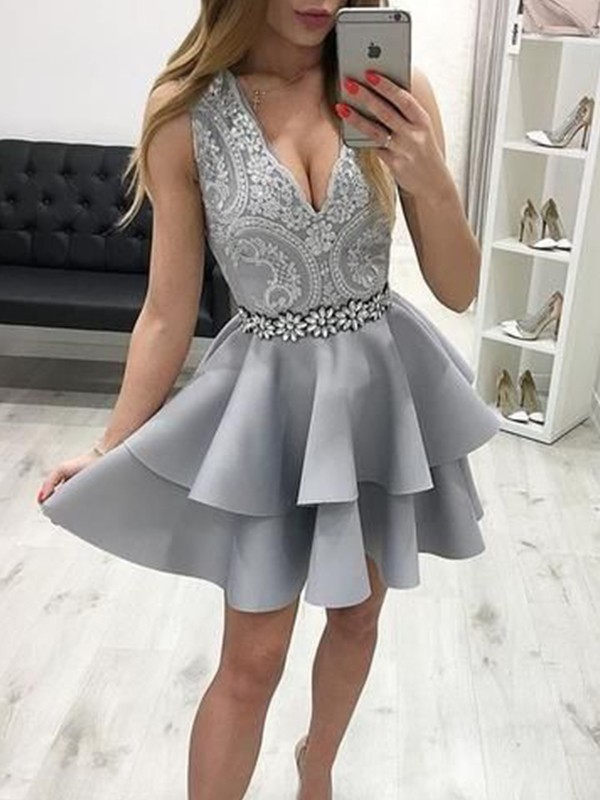 A-Line/Princess Short/Mini V-neck Sleeveless Satin Applique Dresses