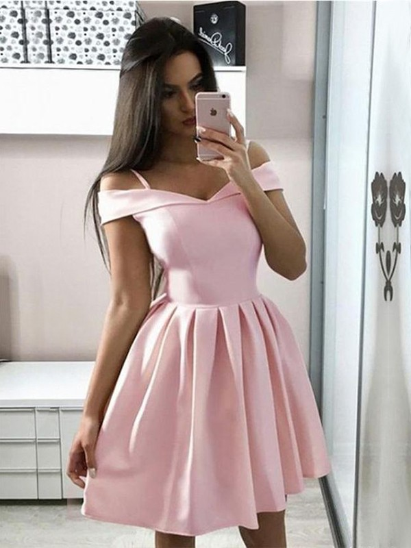 A-Line/Princess Short/Mini Off-the-Shoulder Sleeveless Satin Ruffles Dresses