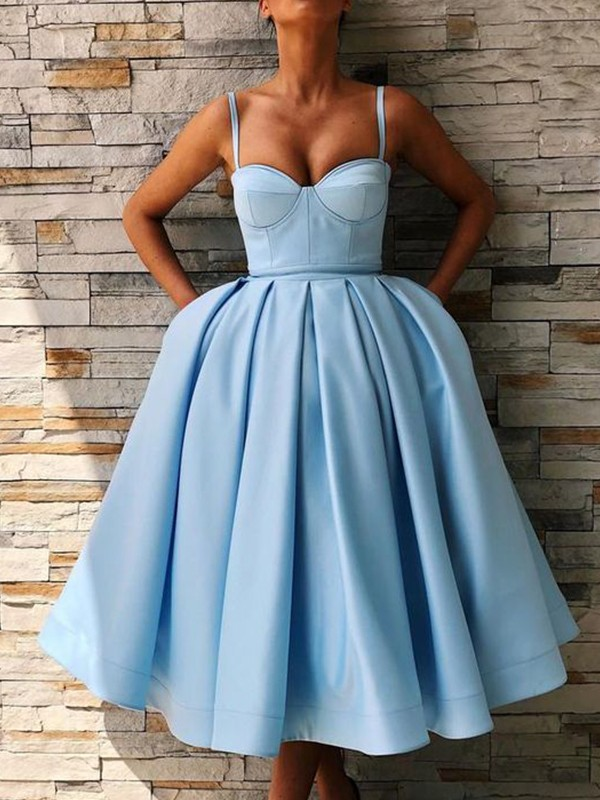 Ball Gown Tea-Length Spaghetti Straps Sleeveless Satin Ruffles Dresses