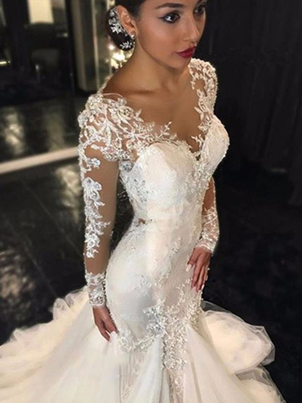 d2757fc5cde1 Trumpet Mermaid V-neck Long Sleeves Lace Court Train Tulle Wedding Dresses  ...