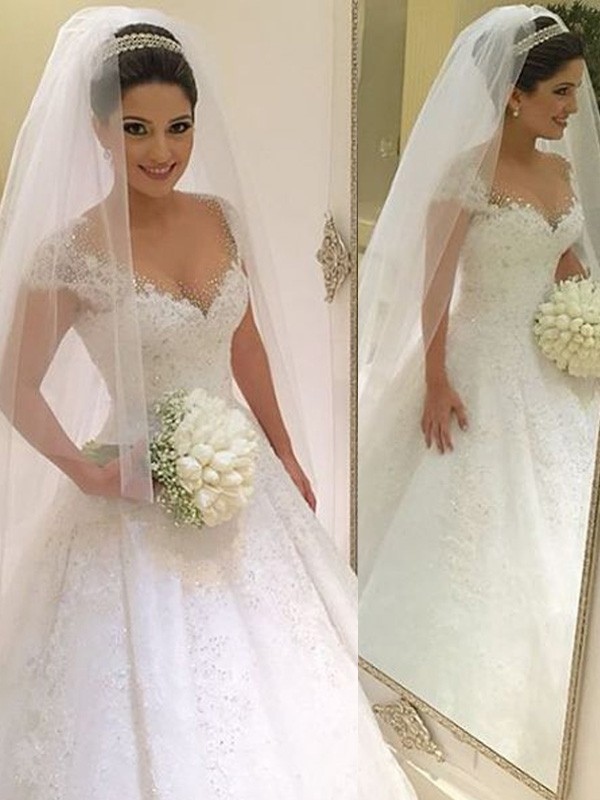 Ball Gown Sleeveless V-neck Beading Floor-Length Tulle Wedding Dresses