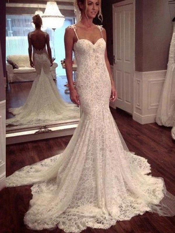 Trumpet/Mermaid Sleeveless Court Train Spaghetti Straps Lace Wedding Dresses