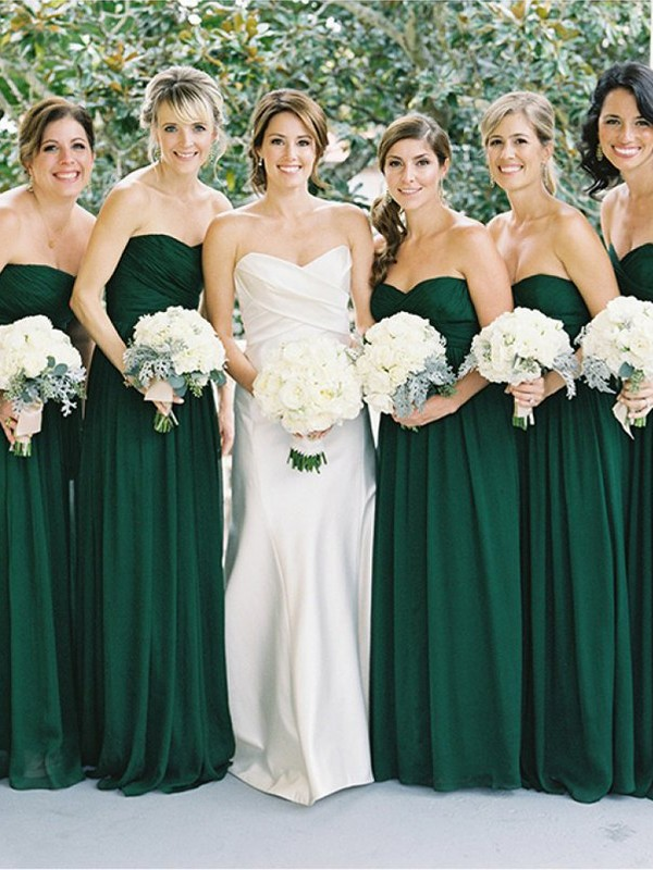 A-Line/Princess Sleeveless Sweetheart Floor-Length Chiffon Bridesmaid Dresses