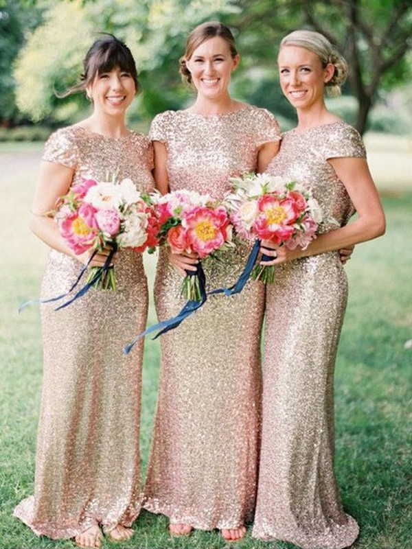 Sheath/Column Bateau Floor-Length Short Sleeves Sequins Bridesmaid Dresses