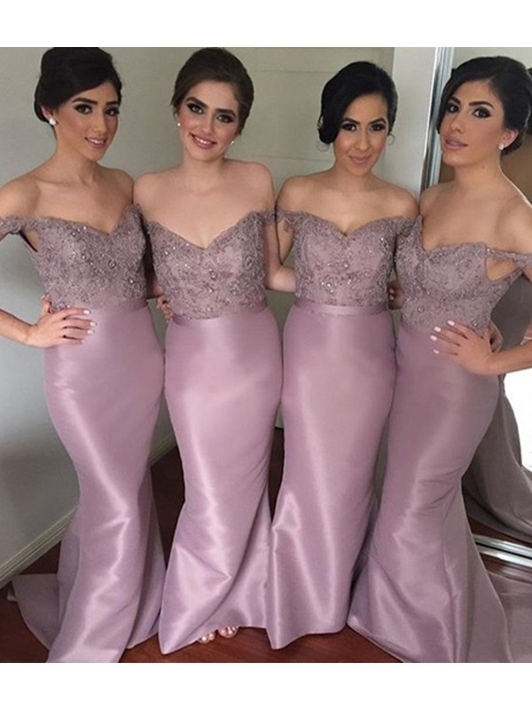 Trumpet/Mermaid Off-the-Shoulder Sleeveless Sweep/Brush Train Beading Satin Bridesmaid Dresses