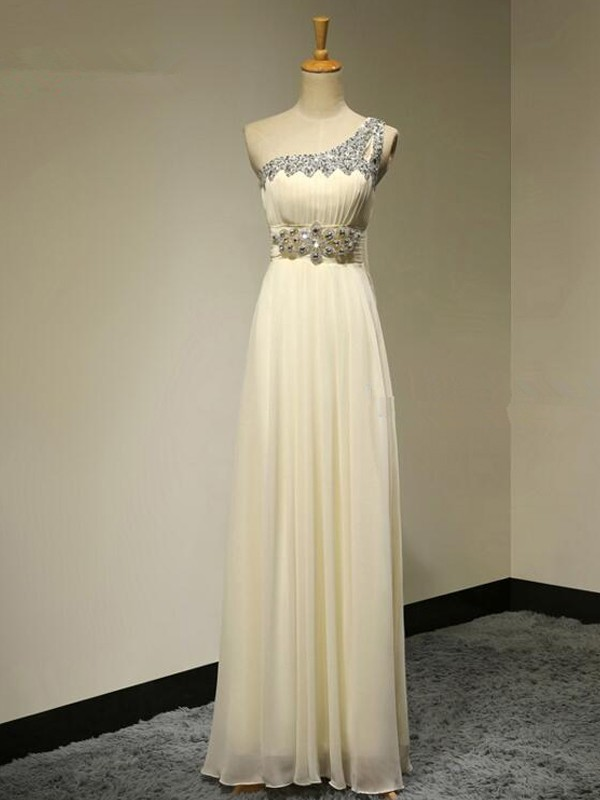 A-Line/Princess One-Shoulder Sleeveless Floor-Length Beading Chiffon Bridesmaid Dresses
