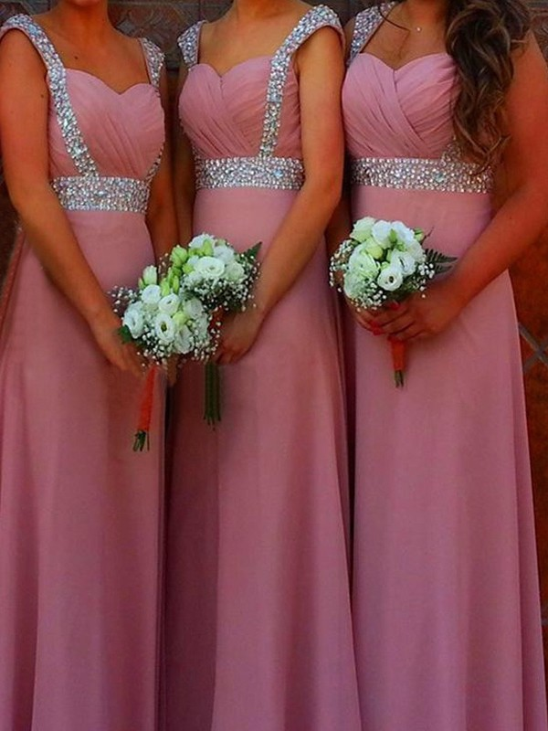 A-Line/Princess Sleeveless Sweetheart Floor-Length Beading Chiffon Bridesmaid Dresses