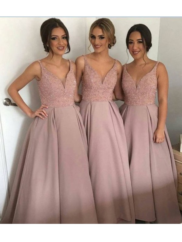 A-Line/Princess V-neck Sleeveless Floor-Length Beading Taffeta Bridesmaid Dresses