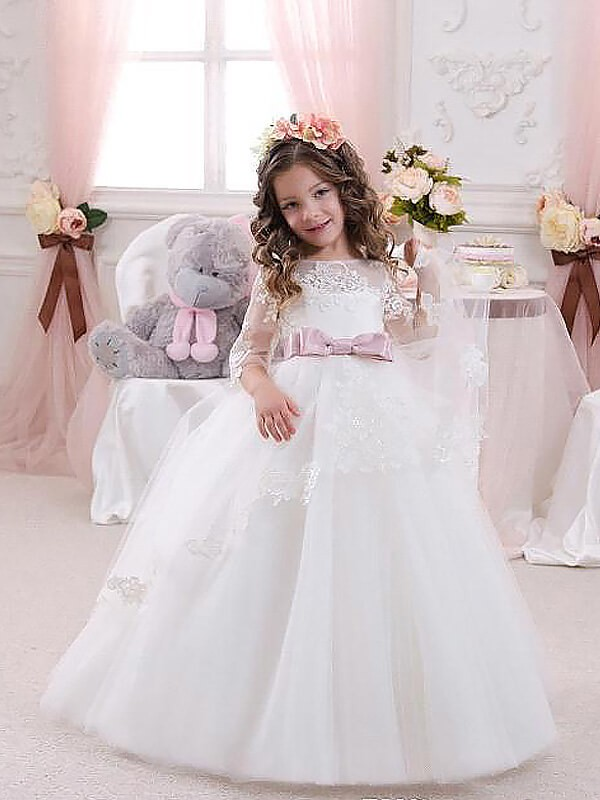 52b137d14 Ball Gown Jewel 1/2 Sleeves Lace Floor-Length Tulle Flower Girl Dresses ...
