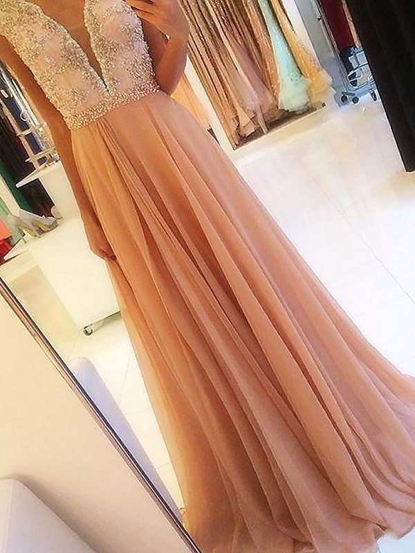 A-Line Sleeveless V-neck Chiffon Beading Sweep/Brush Train Dresses