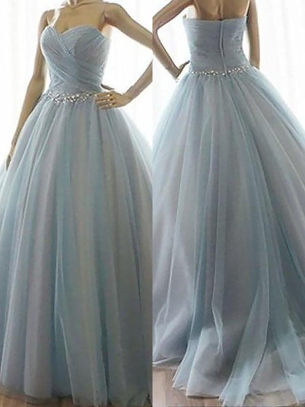 Ball Gown Sleeveless Sweetheart Beading Floor-Length Tulle Dresses