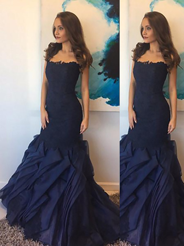 Mermaid Strapless Taffeta Lace Sleeveless Floor-Length Dresses