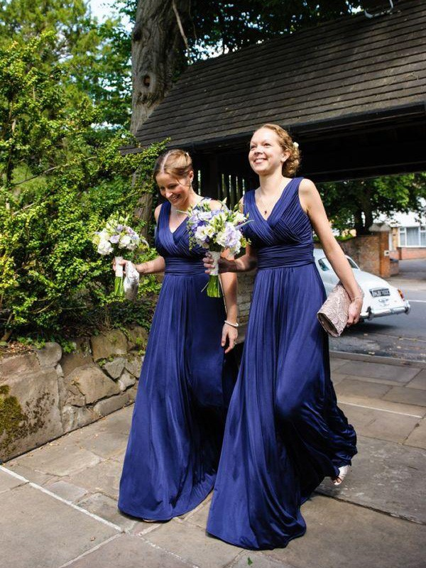 A-Line/Princess V-neck Pleats Chiffon Floor-Length Bridesmaid Dresses