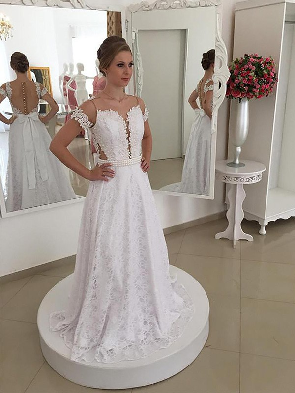 A-Line Scoop Lace Sweep/Brush Train Short Sleeves Wedding Dresses