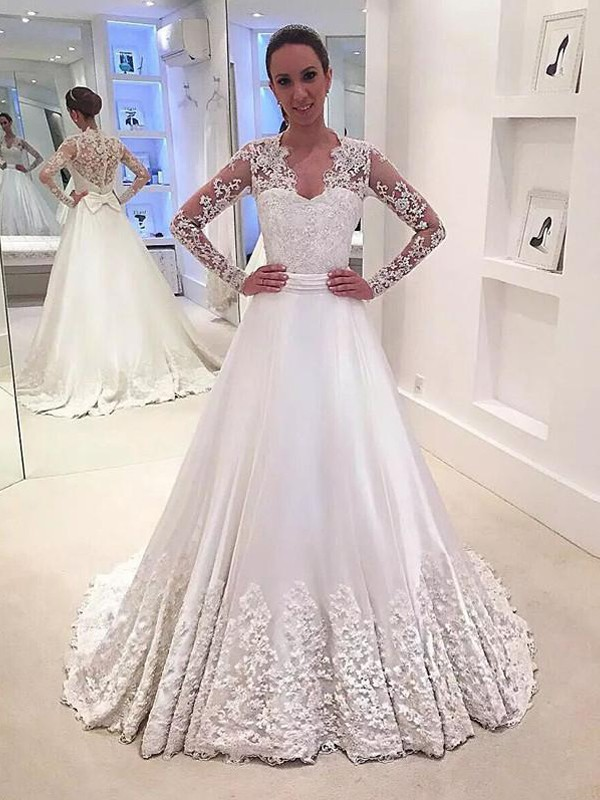 A-Line V-neck Satin Long Sleeves Sweep/Brush Train Wedding Dresses