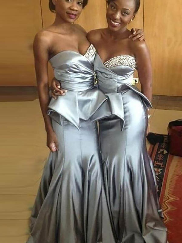 Mermaid Sweetheart Sleeveless Satin Sweep/Brush Train Bridesmaid Dresses