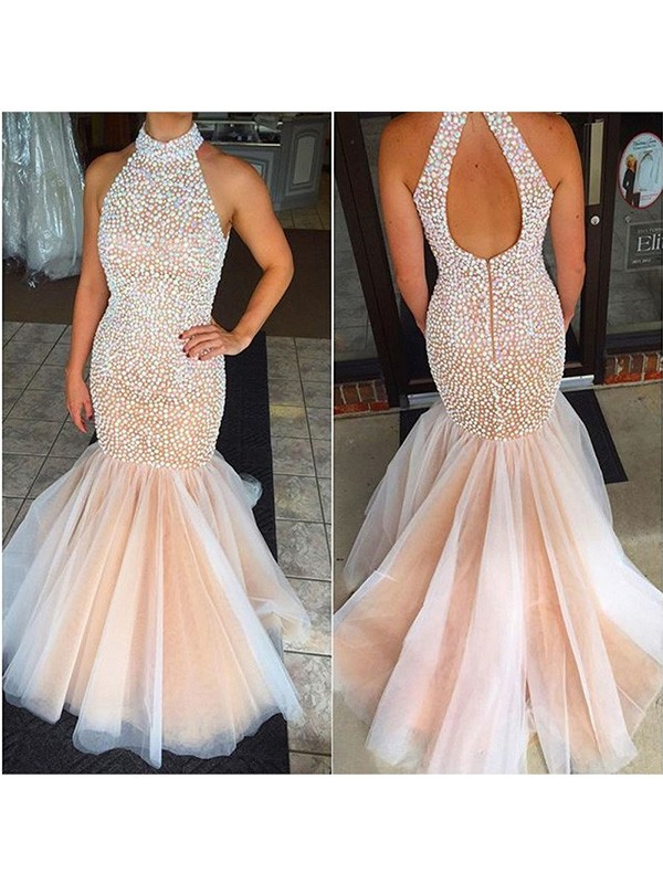 Trumpet/Mermaid Halter Sleeveless Beading Tulle Sweep/Brush Train Dresses