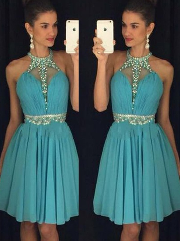 A-Line/Princess Sleeveless Halter Short/Mini Beading Chiffon Dresses