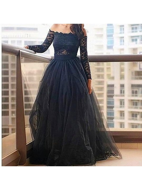 A-Line/Princess Off-the-Shoulder Long Sleeves Lace Floor-Length Tulle Dresses