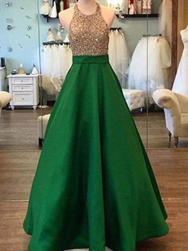 A-Line/Princess Sleeveless Floor-Length Halter Beading Satin Dresses