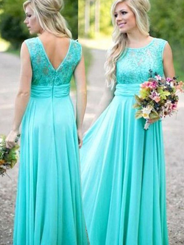 A-Line/Princess Scoop Floor-Length Lace Chiffon Bridesmaid Dresses