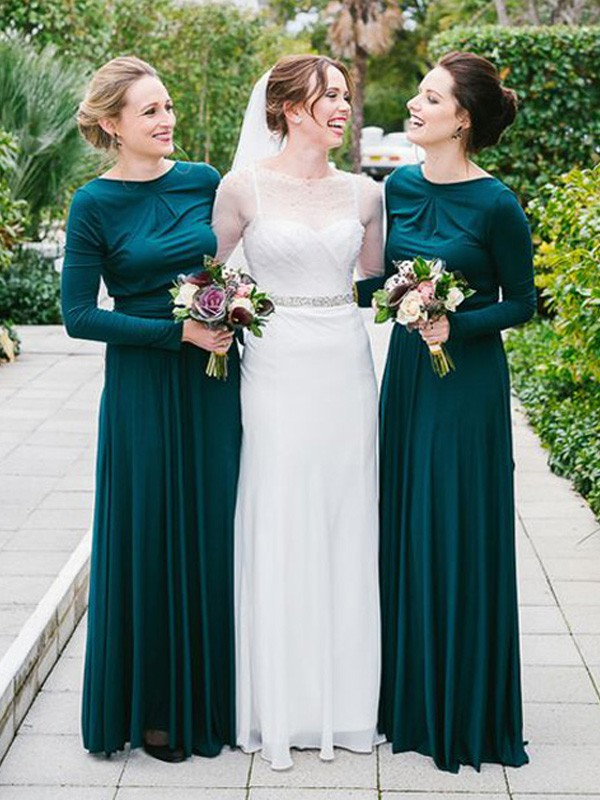 A-Line/Princess Scoop Floor-Length Long Sleeves Jersey Bridesmaid Dresses