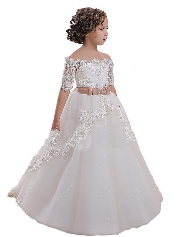 Ball Gown Off-the-Shoulder Short Sleeves Sash/Ribbon/Belt Tulle Flower Girl Dresses