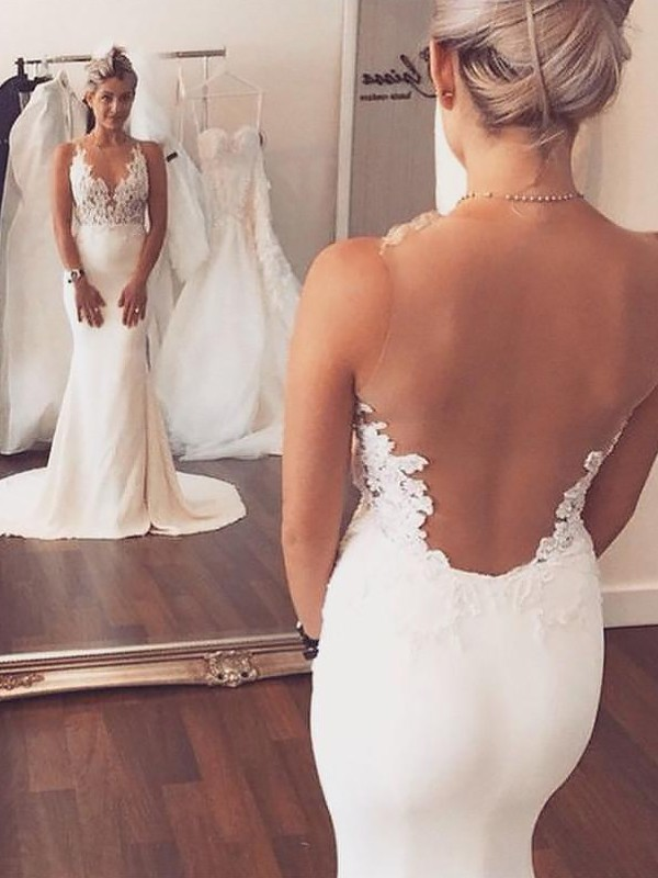 Mermaid Spandex Applique Scoop Sleeveless Court Train Wedding Dresses