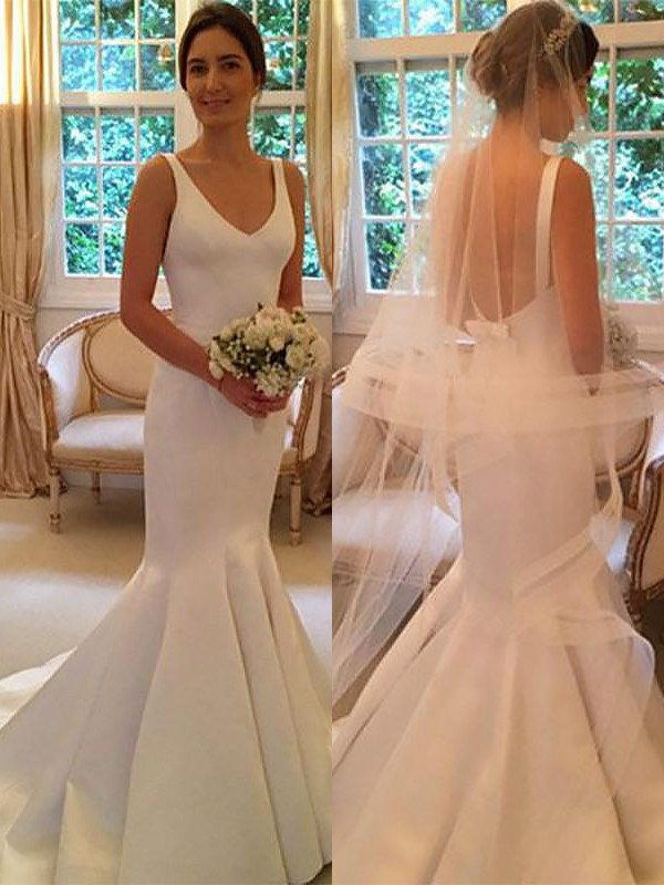 Mermaid V-neck Satin Sleeveless Sweep/Brush Train Wedding Dresses