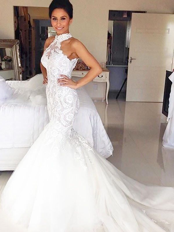 Mermaid Halter Court Train Tulle Sleeveless Wedding Dresses