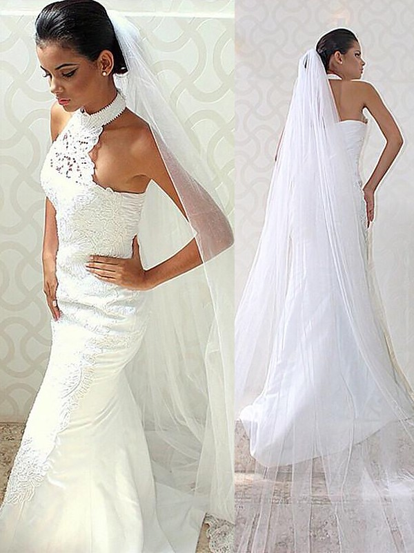 Mermaid Halter Sweep/Brush Train Satin Sleeveless Wedding Dresses