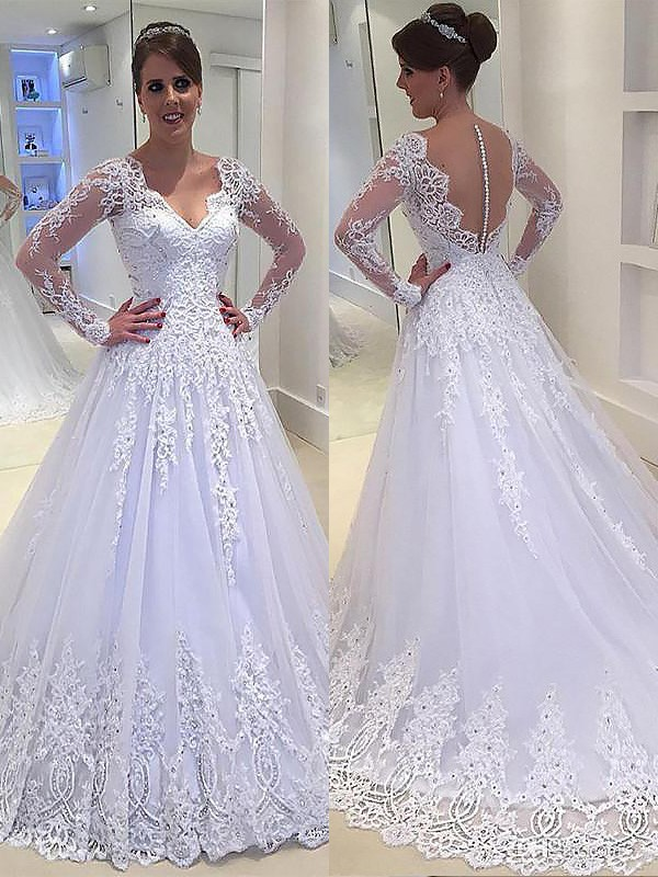 A-Line Applique V-neck Court Train Tulle Long Sleeves Wedding Dresses