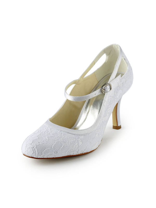 Women's Pretty Satin Stiletto Heel Pumps With Buckle White Wedding Shoes