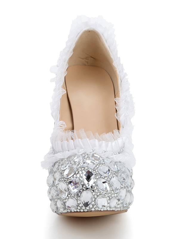 Women's Stiletto Heel Platform Satin Closed Toe With Rhinestone Silver Wedding Shoes