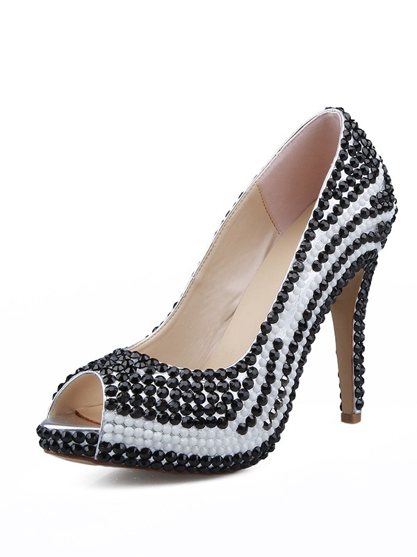 Women's Patent Leather Peep Toe Stiletto Heel With Beading High Heels