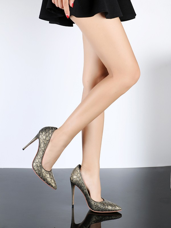 Women's PU Stiletto Heel Closed Toe With Ostrich Pattern High Heels