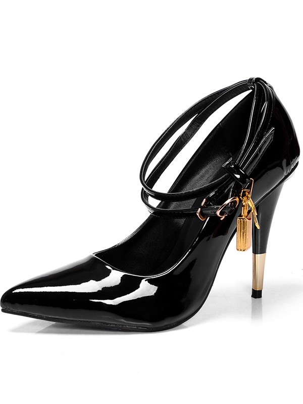Women's Patent Leather Closed Toe Cone Heel With Buckle High Heels