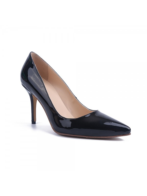 Women's Black Stiletto Heel Patent Leather Closed Toe Office High Heels