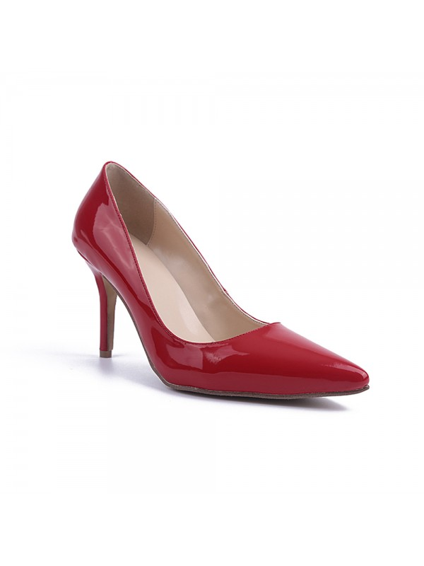 Women's Red Stiletto Heel Patent Leather Closed Toe High Heels
