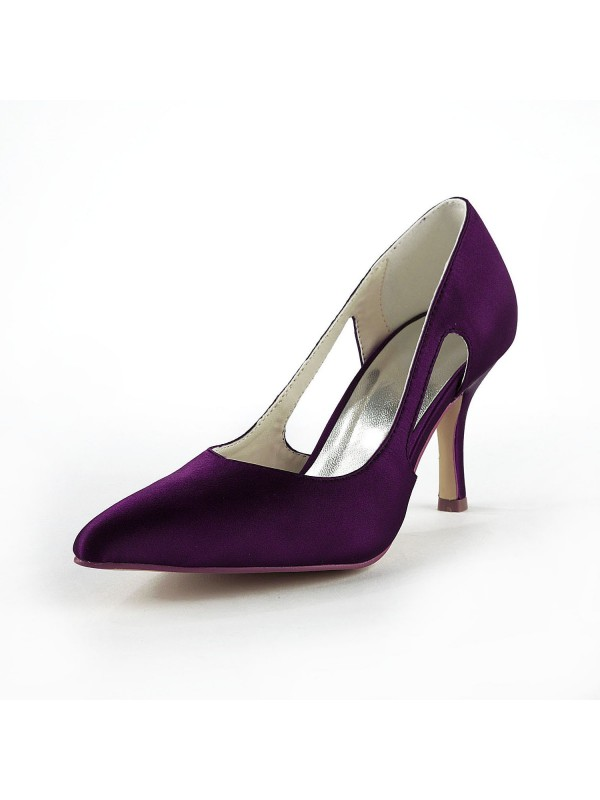 Women's Satin Stiletto Heel Closed Toe Pumps Grape Wedding Shoes