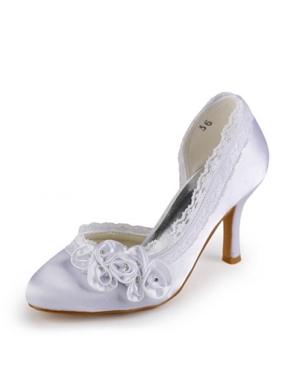Women's Satin Stiletto Heel Closed Toe White Wedding Shoes With Rhinestone