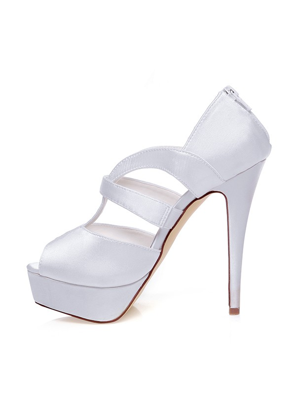 Women's Satin Peep Toe Zipper Stiletto Heel Wedding Shoes