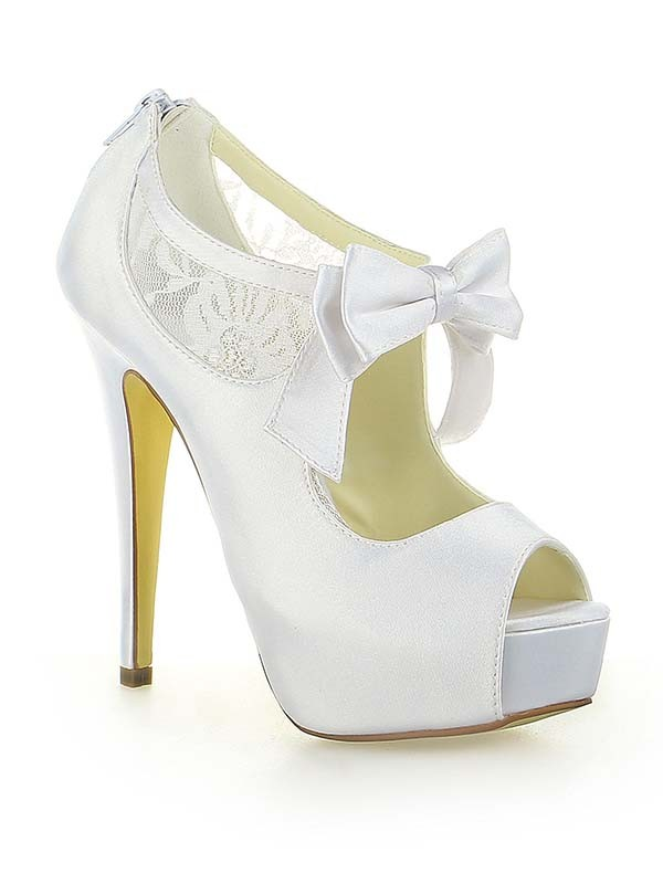 Women's Satin Lace Platform Peep Toe With Bowknot Stiletto Heel White Wedding Shoes
