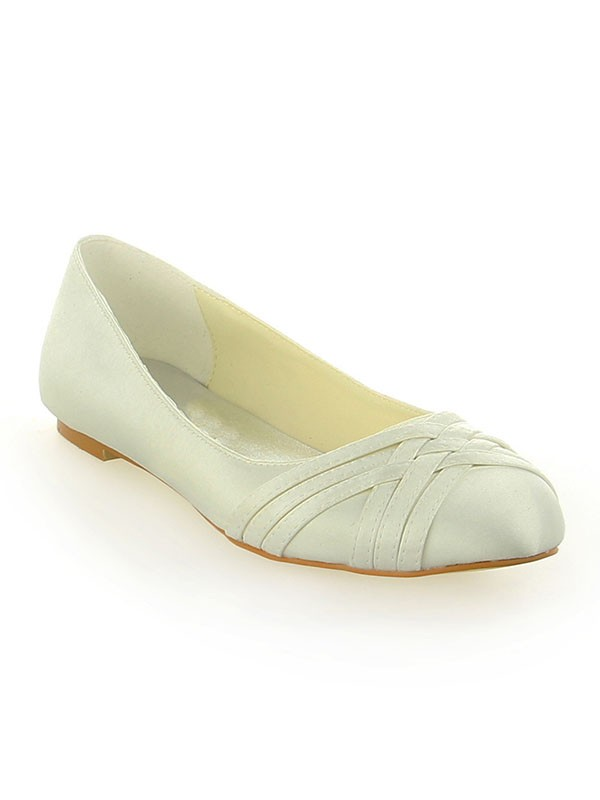 Women's Satin Closed Toe Flat Heel Ivory Wedding Shoes
